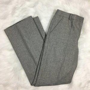 J. Crew Gray Pleated Straight Leg Career Trousers